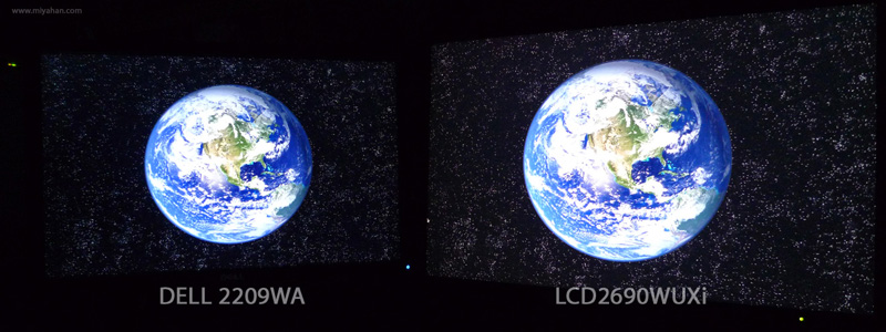 DELL 2209WA バックライト漏れ 比較